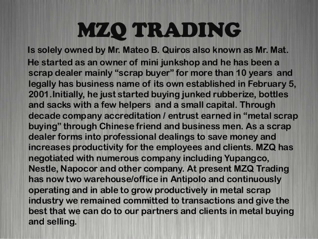 MZQ TRADING Company Profile (Powerpoint)