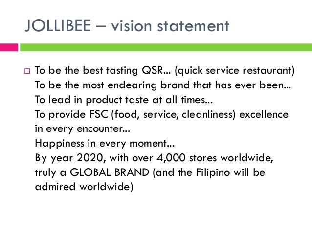 vision mission goals and objectives of jollibee