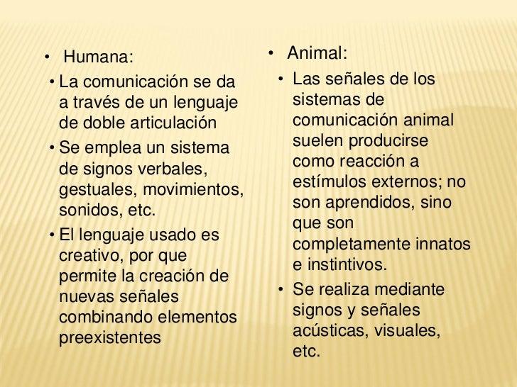 • Humana:                    • Animal: • La comunicación se da      • Las señales de los   a través de un lenguaje      si...