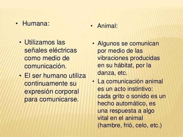 • Humana:               • Animal:• Utilizamos las        • Algunos se comunican  señales eléctricas      por medio de las ...