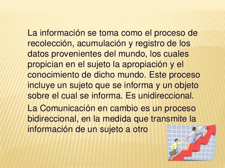 La información se toma como el proceso derecolección, acumulación y registro de losdatos provenientes del mundo, los cuale...