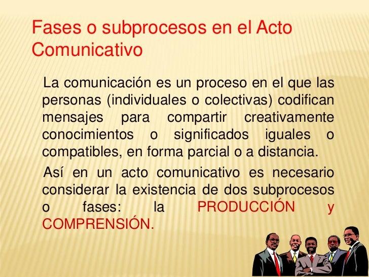 LA PRODUCCIÓN: Implica la participaciónde un emisor encargado de codificar unmensaje con intención comunicativa      La i...