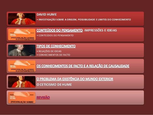 DAVID HUME• INVESTIGAÇÃO SOBRE A ORIGEM, POSSIBILIDADE E LIMITES DO CONHECIMENTO                                  : IMPRES...