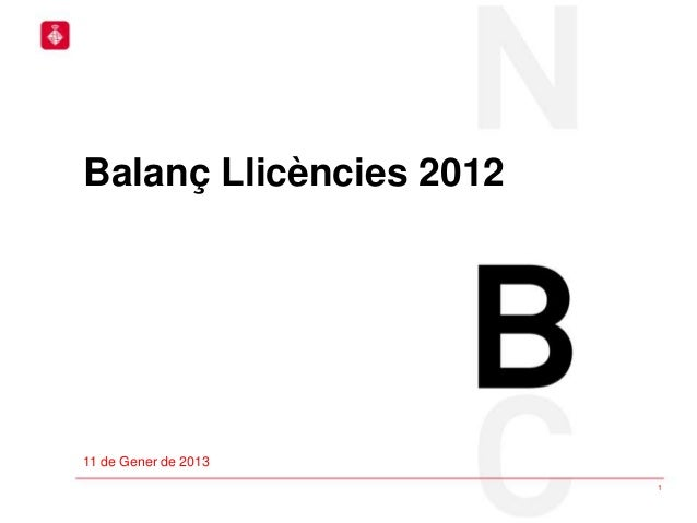 Balanç Llicències 201211 de Gener de 2013                         1