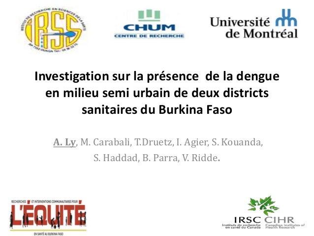 Investigation sur la présence de la dengue en milieu semi urbain de deux districts sanitaires du Burkina Faso A. Ly, M. Ca...