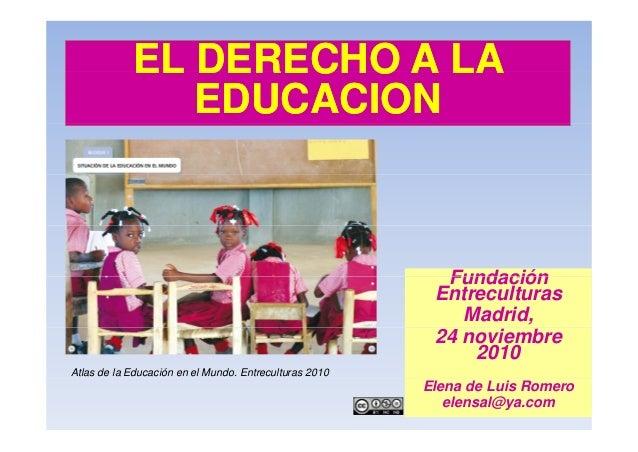 EL DERECHO A LA  EDUCACION  Fundación  Entreculturas  Madrid,  24 noviembre  2010  Atlas de la Educación en el Mundo. Entr...