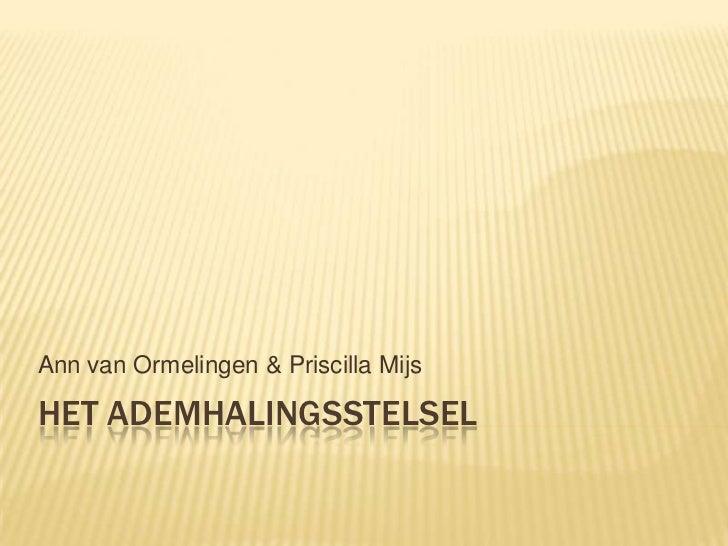 Ann van Ormelingen & Priscilla MijsHET ADEMHALINGSSTELSEL