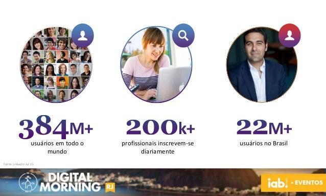 Fonte: LinkedIn Jul 15 usuários em todo o mundo profissionais inscrevem-se diariamente usuários no Brasil