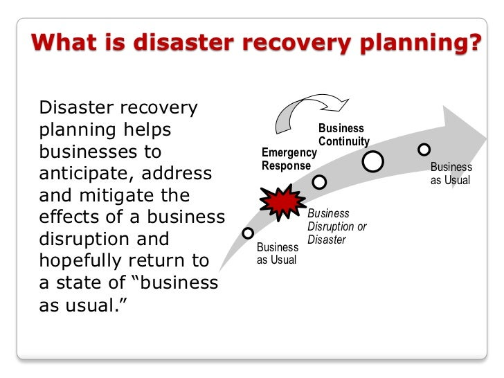 disaster recovery plan Disaster recovery planning is the process of creating a document that details the steps your business will take to recover from a catastrophic event many businesses take the time to create.