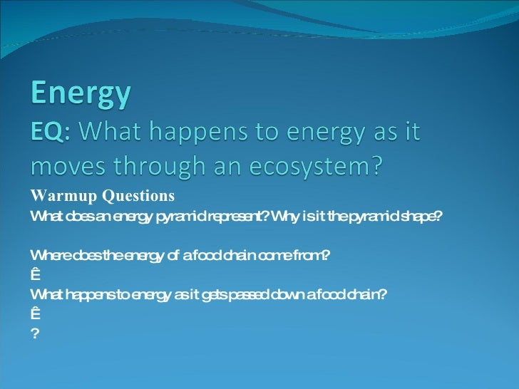Warmup Questions What does an energy pyramid represent? Why is it the pyramid shape? Where does the energy of a food chain...