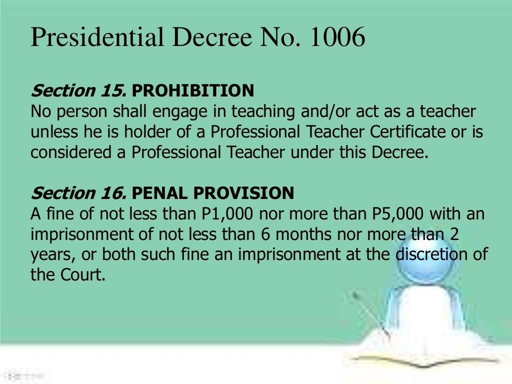 presidential decree no 1006 slideshare