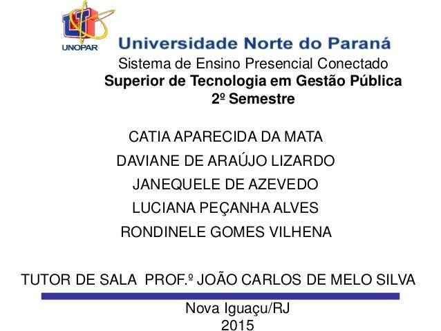 Sistema de Ensino Presencial Conectado Superior de Tecnologia em Gestão Pública 2º Semestre CATIA APARECIDA DA MATA DAVIAN...