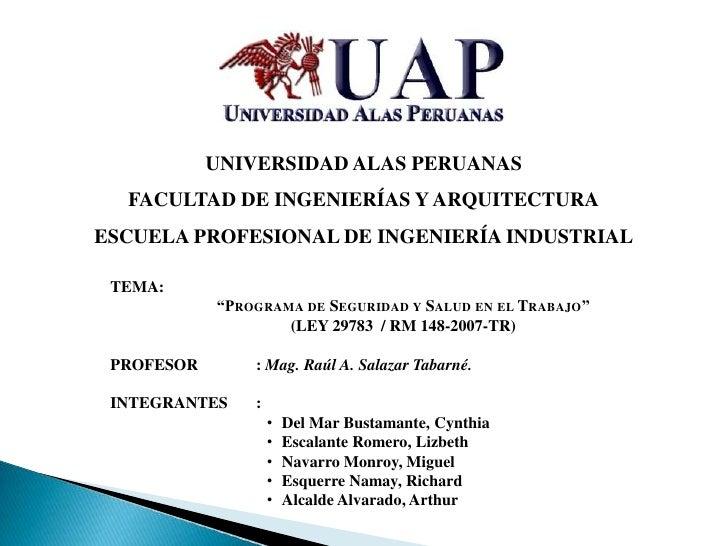 UNIVERSIDAD ALAS PERUANAS  FACULTAD DE INGENIERÍAS Y ARQUITECTURAESCUELA PROFESIONAL DE INGENIERÍA INDUSTRIAL TEMA:       ...