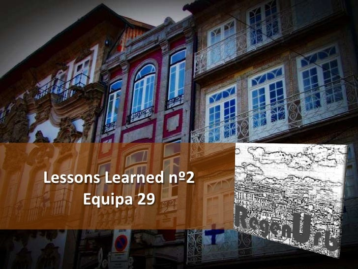 Lessons Learned nº2     Equipa 29