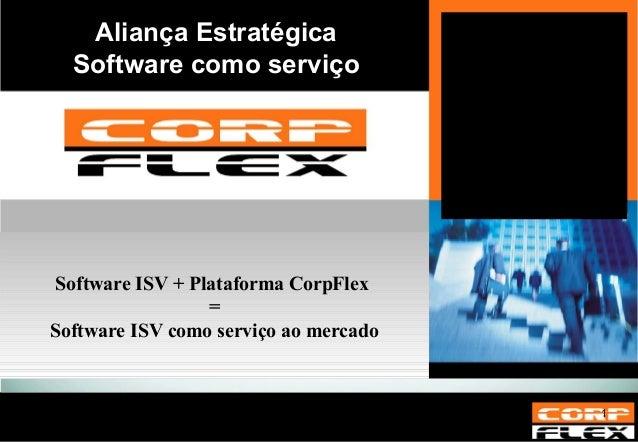 Aliança Estratégica Software como serviço Software ISV + Plataforma CorpFlex  = Software ISV como serviço ao mercado