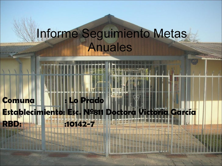 Informe Seguimiento Metas Anuales  Comuna  : Lo Prado Establecimiento: Esc. Nº811 Doctora Victoria García RBD:  :10142-7