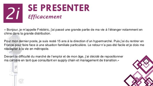 SE PRESENTER Efficacement « Bonjour, je m'appelle Frédéric, j'ai passé une grande partie de ma vie à l'étranger notamment ...