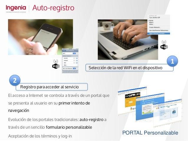 Auto-registro El acceso a Internet se controla a través de un portal que se presenta al usuario en su primer intento de na...