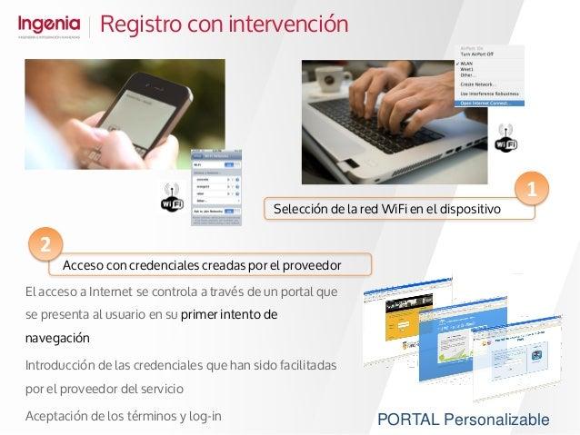 Registro con intervención El acceso a Internet se controla a través de un portal que se presenta al usuario en su primer i...