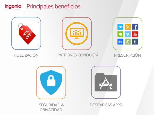 Principales beneficios FIDELIZACIÓN PATRONES CONDUCTA PRESCRIPCIÓN SEGURIDAD & PRIVACIDAD DESCARGAS APPS
