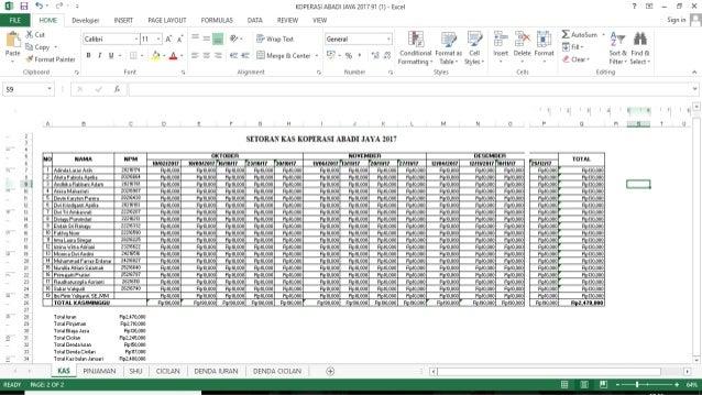 Ppt Excel Laporan Keuangan Koperasi Kelas Koperasi Abadi Jaya