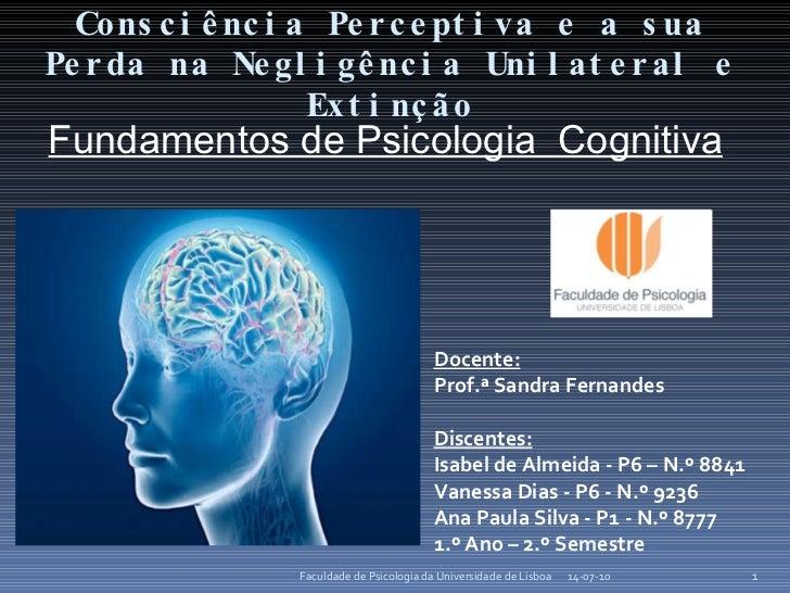 C onsciência Perceptiva e a sua Perda na Negligência Unilateral e Extinção 14-07-10 Faculdade de Psicologia da Universidad...