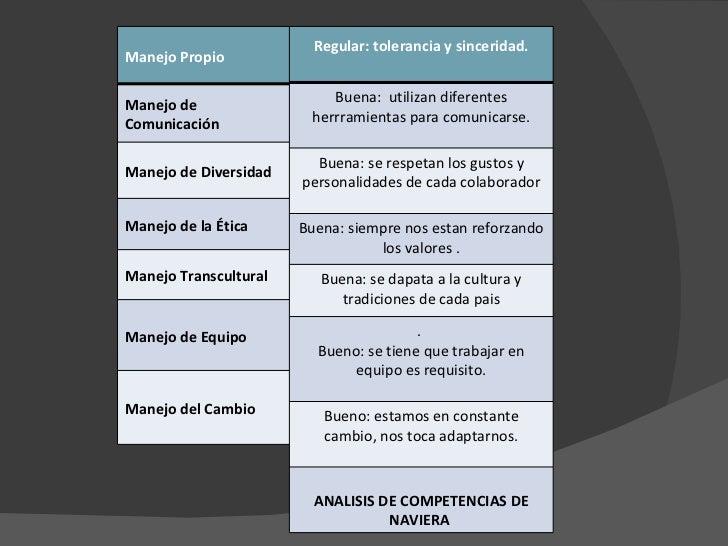 Manejo Propio Manejo de Comunicación Manejo de Diversidad Manejo de la Ética Manejo Transcultural Manejo de Equipo Manejo ...