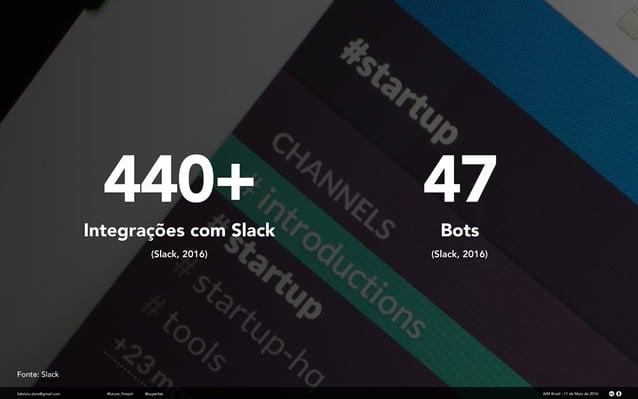 440+ fabricio.dore@gmail.com Integrações com Slack (Slack, 2016) AIM Brasil - 11 de Maio de 2016#future_fintech @superfab ...