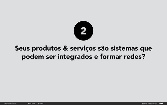 Seus produtos & serviços são sistemas que podem ser integrados e formar redes? fabricio.dore@gmail.com AIM Brasil - 11 de ...