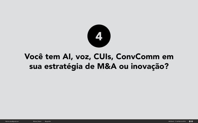 Você tem AI, voz, CUIs, ConvComm em sua estratégia de M&A ou inovação? fabricio.dore@gmail.com AIM Brasil - 11 de Maio de ...