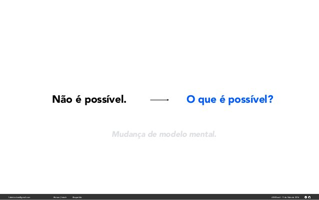 fabricio.dore@gmail.com AIM Brasil - 11 de Maio de 2016#future_fintech @superfab Não é possível. O que é possível? Mudança...