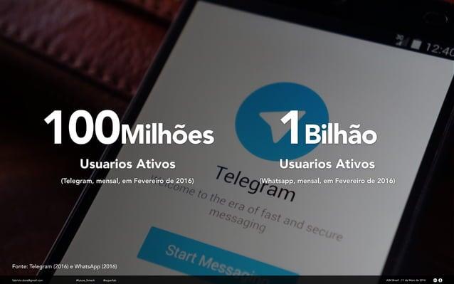 100Milhões fabricio.dore@gmail.com Usuarios Ativos (Telegram, mensal, em Fevereiro de 2016) AIM Brasil - 11 de Maio de 201...