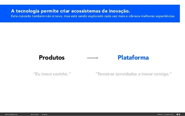 fabricio.dore@gmail.com AIM Brasil - 11 de Maio de 2016#future_fintech @superfab Produtos Plataforma A tecnologia permite ...
