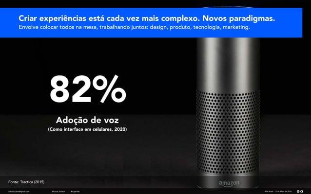 Adoção de voz (Como interface em celulares, 2020) 82% Criar experiências está cada vez mais complexo. Novos paradigmas. En...