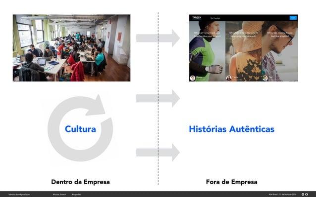 Histórias AutênticasCultura Dentro da Empresa Fora de Empresa fabricio.dore@gmail.com AIM Brasil - 11 de Maio de 2016#futu...