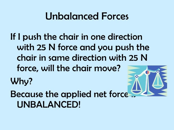 Unbalanced Forces <ul><li>If I push the chair in one direction  with 25 N force and you push the chair in same direction w...
