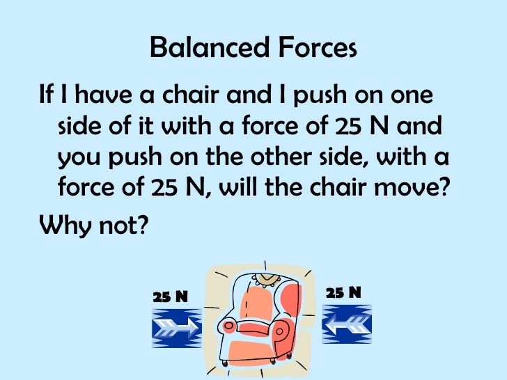 Balanced Forces <ul><li>If I have a chair and I push on one side of it with a force of 25 N and you push on the other side...