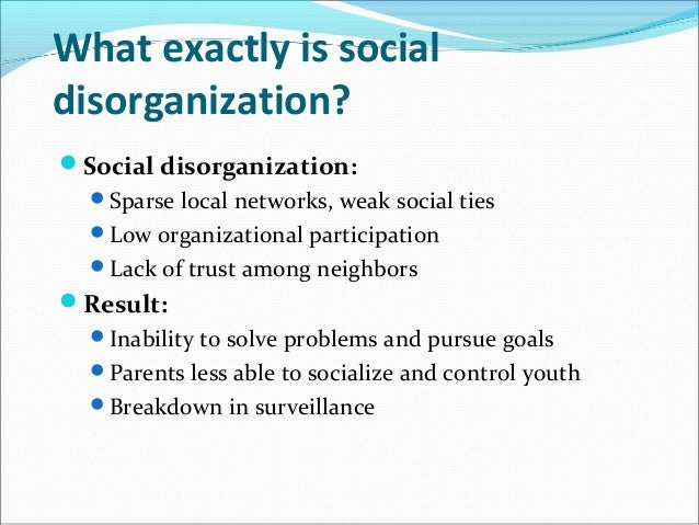 social disorganization qa essay This article is written like a personal reflection or opinion essay that states  of social disorganization  disorganization to explain social.