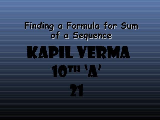 sum of series formula pdf