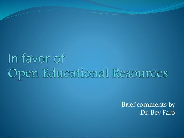 Brief comments by Dr. Bev Farb