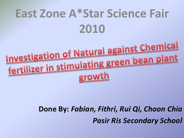 East Zone A*Star Science Fair 2010<br />Investigation of Natural against Chemical fertilizer in stimulating green bean pla...