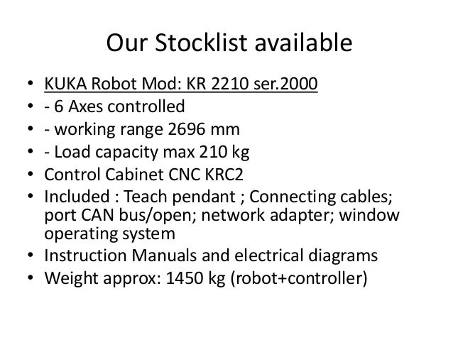 Our Stocklist available • • • • • •  KUKA Robot Mod: KR 2210 ser.2000 - 6 Axes controlled - working range 2696 mm - Load c...