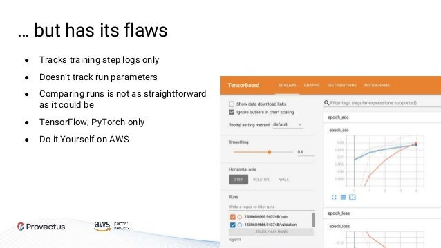 … but has its flaws ● Tracks training step logs only ● Doesn't track run parameters ● Comparing runs is not as straightfor...