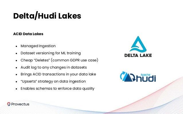 """ACID Data Lakes ● Managed Ingestion ● Dataset versioning for ML training ● Cheap """"Deletes"""" (common GDPR use case) ● Audit ..."""