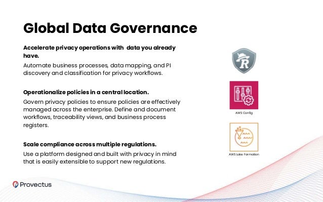 Global Data Governance Accelerate privacy operations with data you already have. Automate business processes, data mapping...
