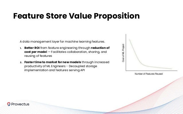 Feature Store Value Proposition A data management layer for machine learning features. 1. Better ROI from feature engineer...