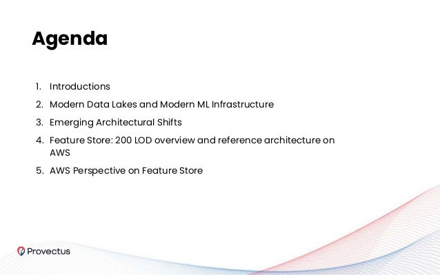 1. Introductions 2. Modern Data Lakes and Modern ML Infrastructure 3. Emerging Architectural Shifts 4. Feature Store: 200 ...