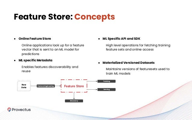 ● Online Feature Store Online applications look up for a feature vector that is sent to an ML model for predictions ● ML s...