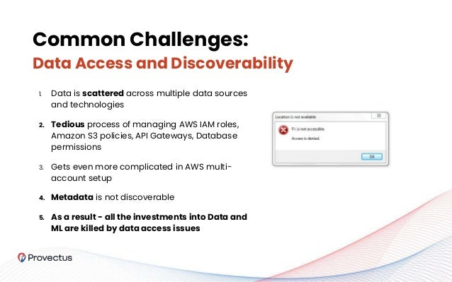 Common Challenges: Data Access and Discoverability 1. Data is scattered across multiple data sources and technologies 2. T...