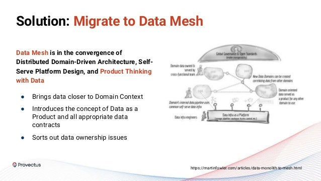 Solution: Migrate to Data Mesh Data Mesh is in the convergence of Distributed Domain-Driven Architecture, Self- Serve Plat...